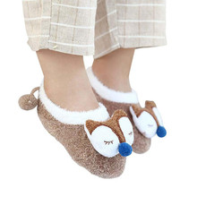 Newborn Baby Fox Socks Coral Fleece Cute Meias Cartoon Sokken Soft Animal Patter Boys Girls Indoor Shoes For 1-3Y
