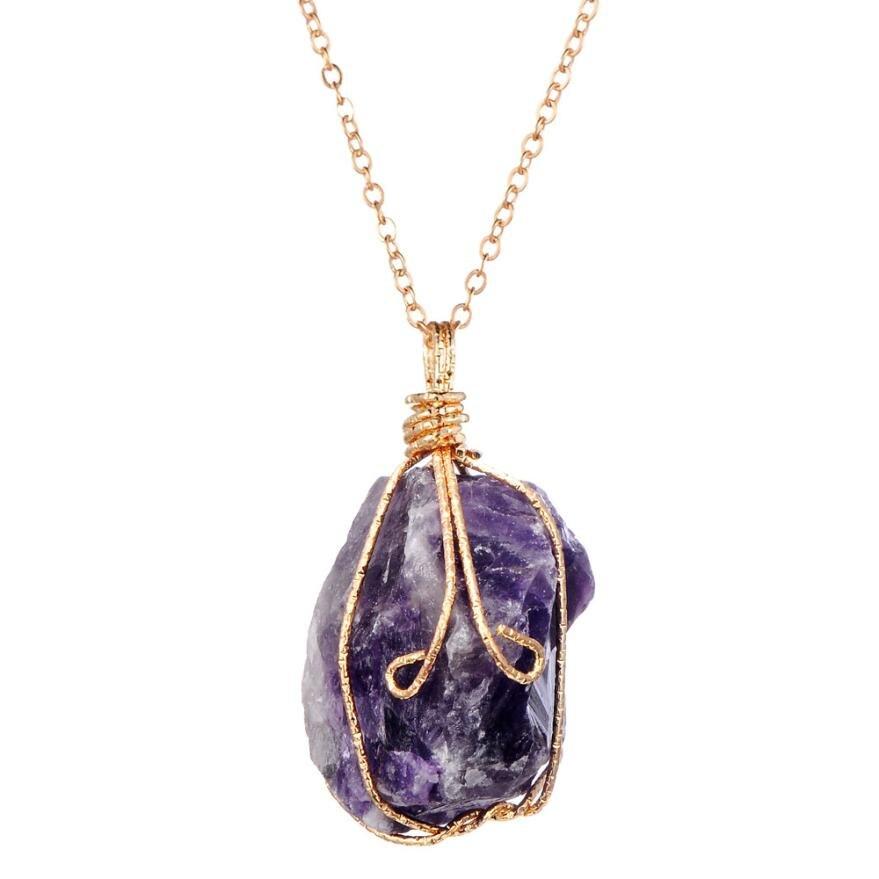 Rainbow Stone Natural Crystal Chakra Rock Necklace Quartz Pendant Gift Delicate Sep 14
