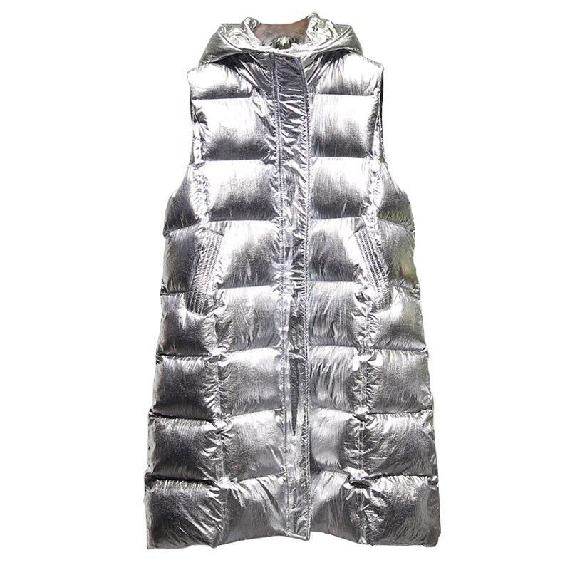 Vrouwen Lange Vest Jas Vrouwelijke Glanzend Meisje Vest Womens Vest Jas Winter Streetwear 2019 Nieuwe Mode Bovenkleding GOUD ZILVER-in Vesten en gilets van Dames Kleding op  Groep 2
