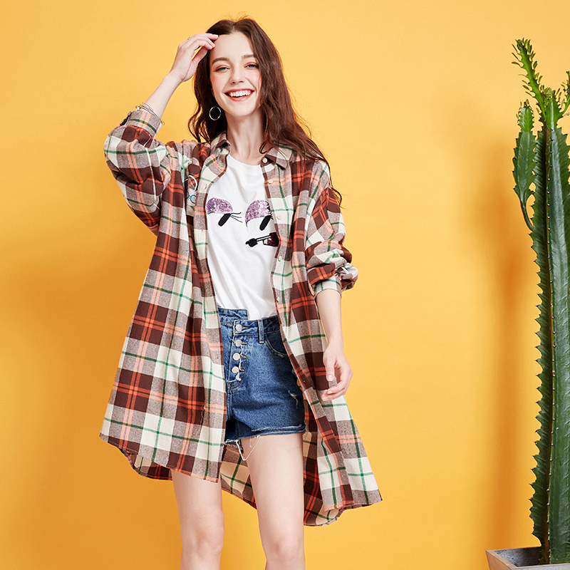 ARTKA 2019 printemps femmes décontracté Plaid chemise 100% coton à manches longues lâche mignon Turn Down col chemise femme vêtements SA15195X