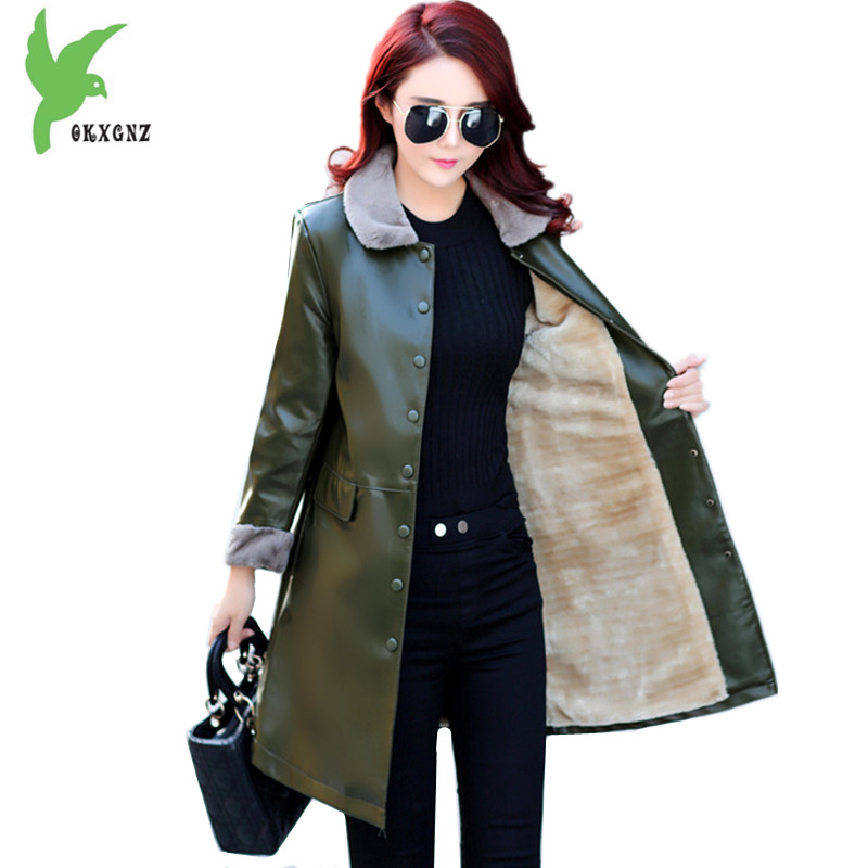 8142f30c614 New PU Leather Jackets Women Autumn Winter Flocking Keep Warm Outerwear  Plus size Female Slim Thicken Leather Jackets OKXGNZ1319