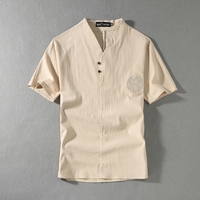 Brand linen Clothing 5 colors V neck Men's T Shirt Men Fashion Tshirts Fitness Casual For Male T shirt M 9XL Free Shipping