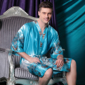 New Summer Blue Silk Kimono Bath Robe Gown Chinese Men Rayon Nightwear Unisex V-Neck Sleepwear Pajama Pijamas Plus Size 011302