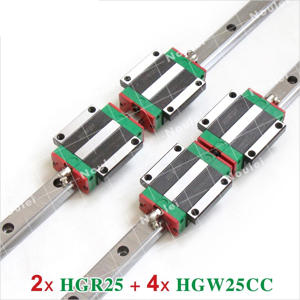 Linear Guide Rail 2pcs 100% HIWIN HGR25 L 1500mm and 4pcs HGW25CA HGW25CC Blocks for CNC Router noulei hgw25cc hgw25ca slide block with 1500mm linear guide rail hgr25 for cnc z axis hgw25 guia