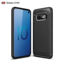For Samsung Galaxy S10 E / S10e Carbon Fiber Case Anti-knock Soft Tpu Brushed Rugged Rubber Armor Silicone Hybrid Phone Cover