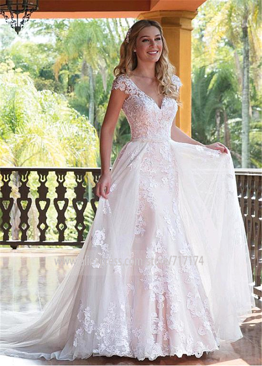 Image 2 - Tulle V neck Neckline 2 In 1 Wedding Dresses With Lace Appliques & Beadings Two Pieces Bridal Dress with Detachable Skirt-in Wedding Dresses from Weddings & Events