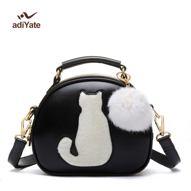 Women Small Handbags Cute Cat Small Round Bags Kitten Fur Messenger Bags  Cat Small Round Bags Hair Ball Decoration Wholesale 0ee226578158d