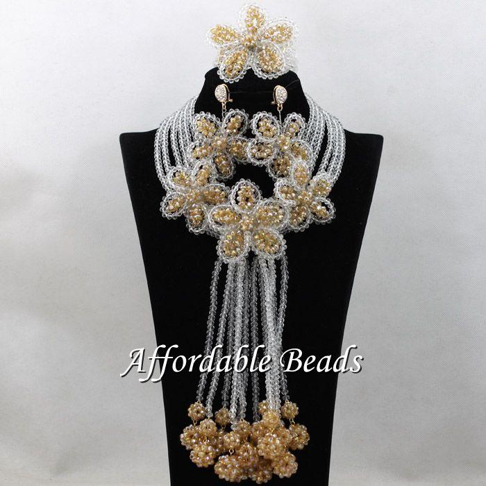 Perles traditionnelles nigérianes meilleure vente ensemble de bijoux en or dubaï conception à la main ABS136