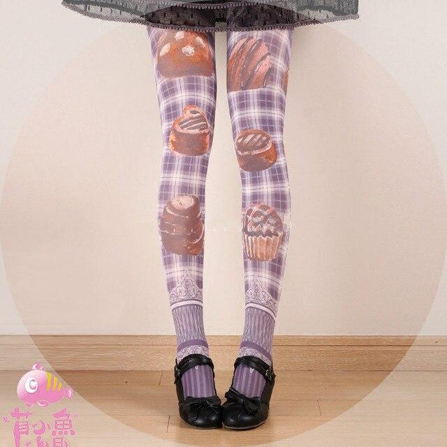 Princess sweet lolita Japanese Princess  South Korea Princess Cake Harajuku lattice Velvet tights bk11
