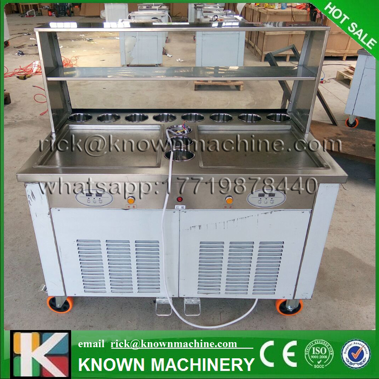 2 Square Pans And 11 Topping Tanks Of Ice Cream Roll Machine With R410A Refrigerant (Free Shipping By Sea)