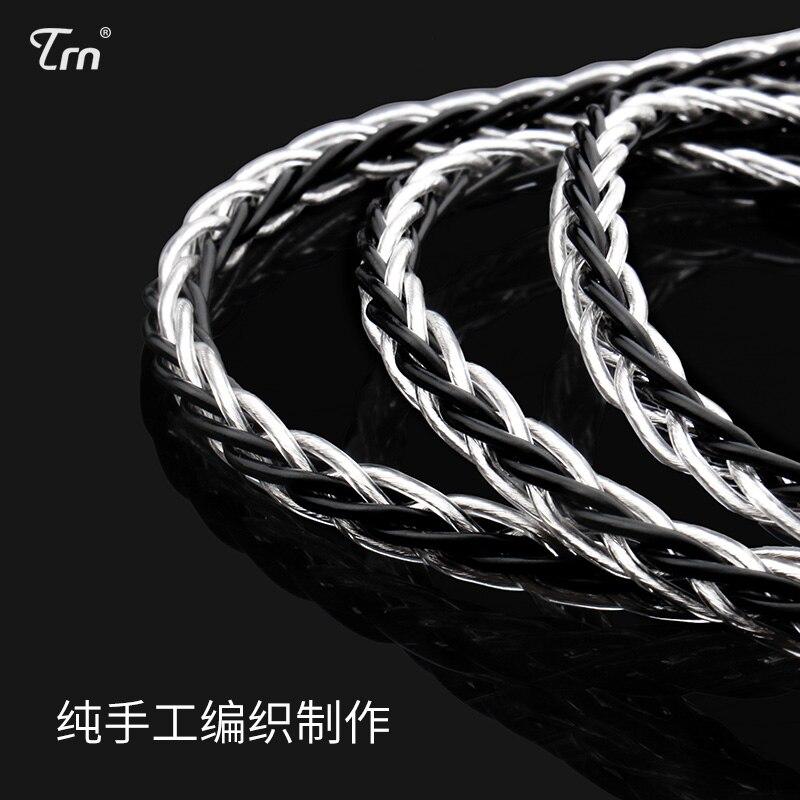 TRN MMCX/2Pin conector 3,5/2,5 equilibrada 8 Core de plata de cobre mixta Cable para TRN V10/V20/V60/V80 ZS4/ZS6/ZS10/ES4/ZS10/AS10/BA10