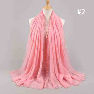 Image 5 - 女性の無地ヒジャーブスカーフ女性バブル綿釘付け真珠スカーフラップフリンジもみくちゃイスラム教徒のスカーフ/スカーフ特大ショール