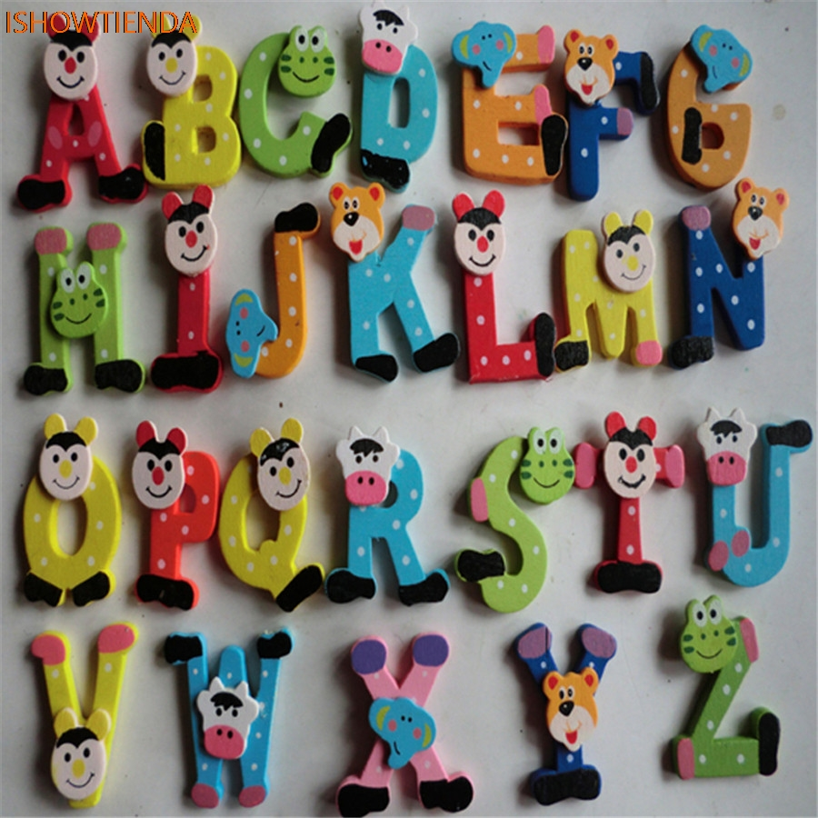 26pcs Wooden Cartoon Alphabet Letters A-Z Magnets Child Educational Toy
