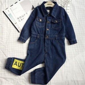 Image 2 - CNFSNJ new Baby Boy Girls Costume Cowboy Fashion Jeans Children Soft Denim Baby Romper Graffiti Infant Clothes Newborn Jumpsuit