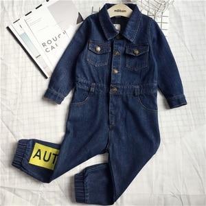 Image 2 - CNFSNJ nowy Baby Boy dziewczyny kostium kowbojskie modne dżinsy dzieci miękkie Denim dziecko Romper Graffiti odzież dla niemowląt kombinezon dla noworodka