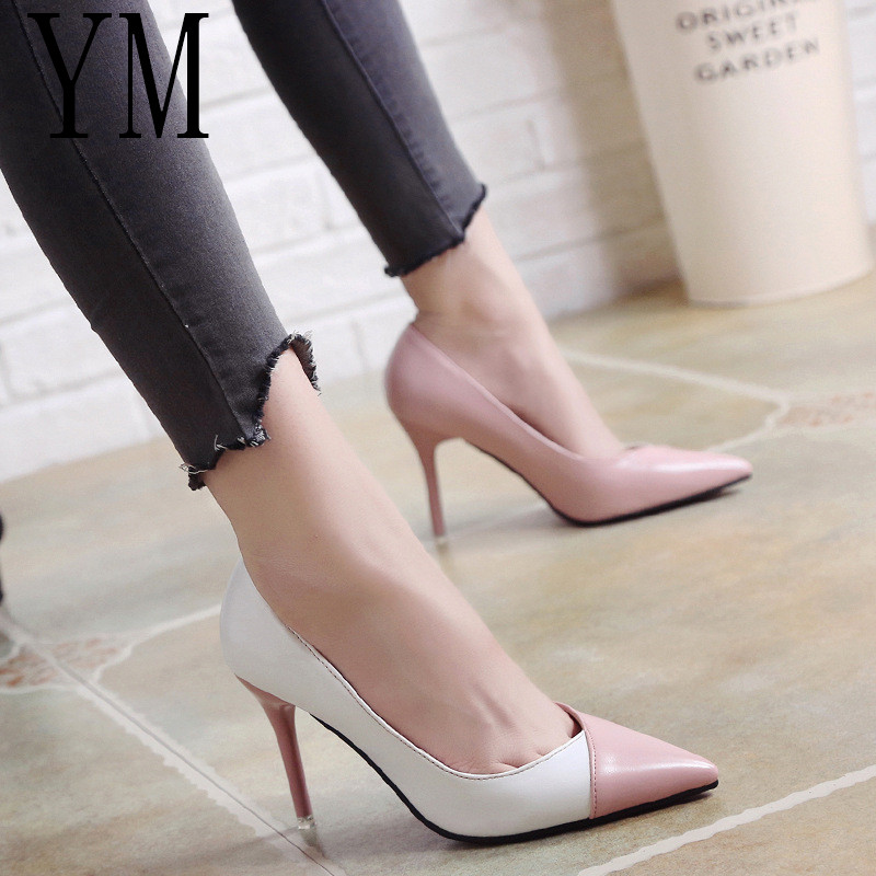 2018 Women Pumps OL Fashion Spell Color High heels Single Shoes Female Spring Summer Patent leather Wedding Party shoes Woman(China)
