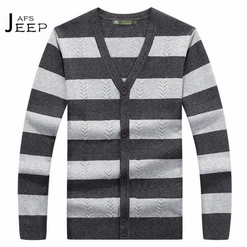 JI PU V-neck Striped Mans Cardigan Knitted Sweater,Single Buttons Wide Strip Long Sleeve ...