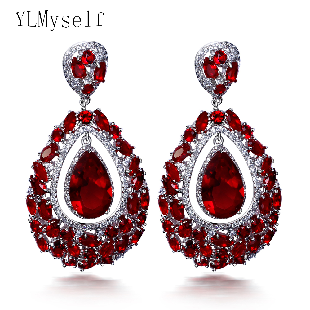 Charming Big waterdrop earrings luxury colorful jewelry jewellery Green Red large stones crystal drop earring for women pair of chic faux crystal waterdrop leaf earrings for women