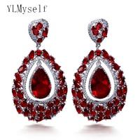Charming Big waterdrop earrings luxury colorful jewelry jewellery Green Red large stones crystal drop earring for women