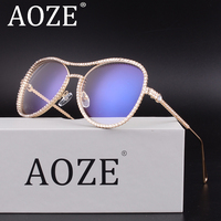 AOZE Crystal Rhinestone Oversized Sunglasses For Women Optical Glasses Frame Clear Lens Anti Blue Ray Anti