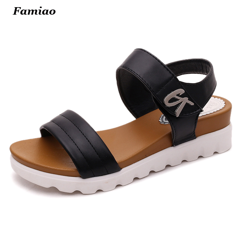 sandalias mujer 2016 summer gladiator sandals women aged leather flat fashion sandals comfortable ladies shoes цены онлайн