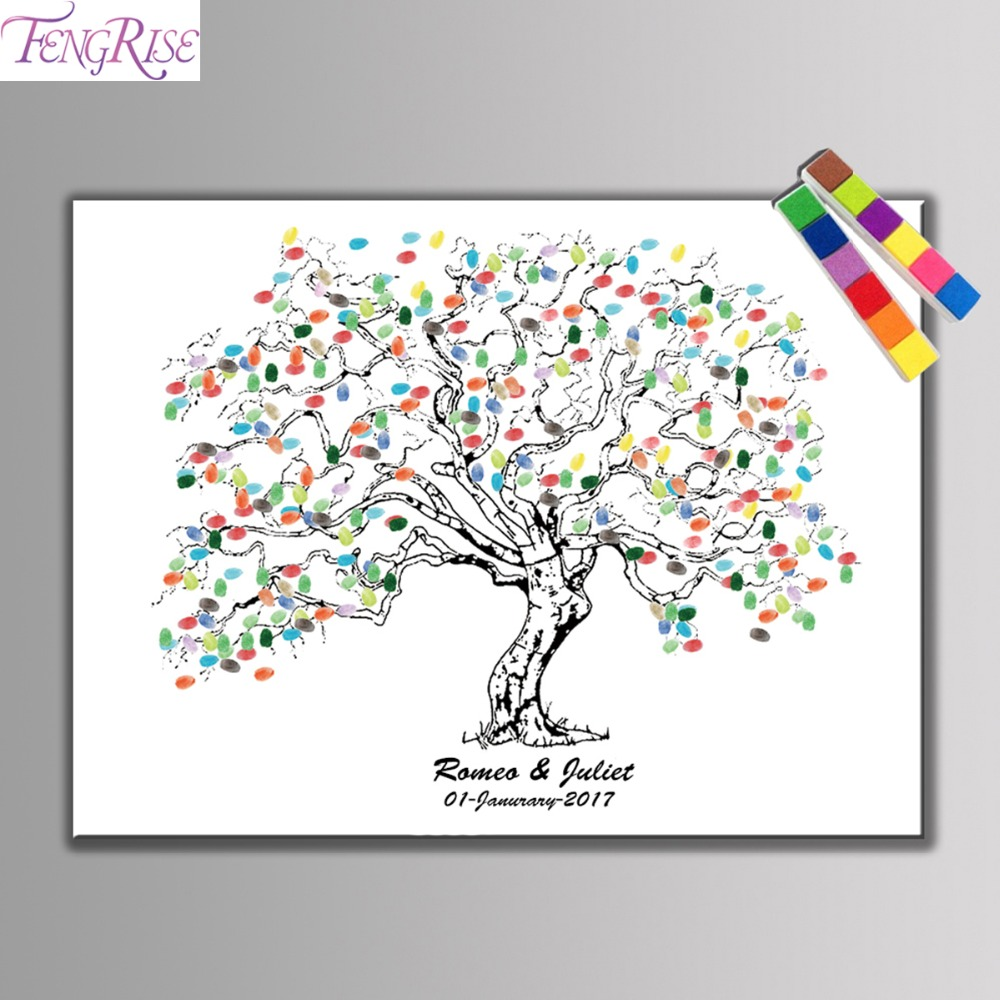 FENGRISE Wedding Guest Book Fingerprint Tree DIY Tree Painting Canvas Ink Pad Wedding Gifts Decoration Engagement Party Supplies
