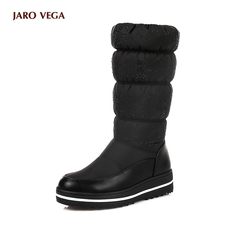 2017 New Women Mid Calf Boots Wedge Med Heel Round Toe Winter Shoes Women Snowflake Elastic band Ladies Snow Boots Size 34-43 испаритель eleaf erl head для melo rt25 melo 300 0 15 ом