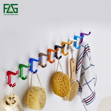 New Space Aluminum Metal Unique Modern Wall Coat Hooks for Bathroom kitchen 10 Colors