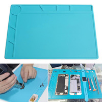1pc Heat Insulation Silicone Pad Blue Desk Mat For Electrical Soldering Repair Station Maintenance Platform 34x23cm