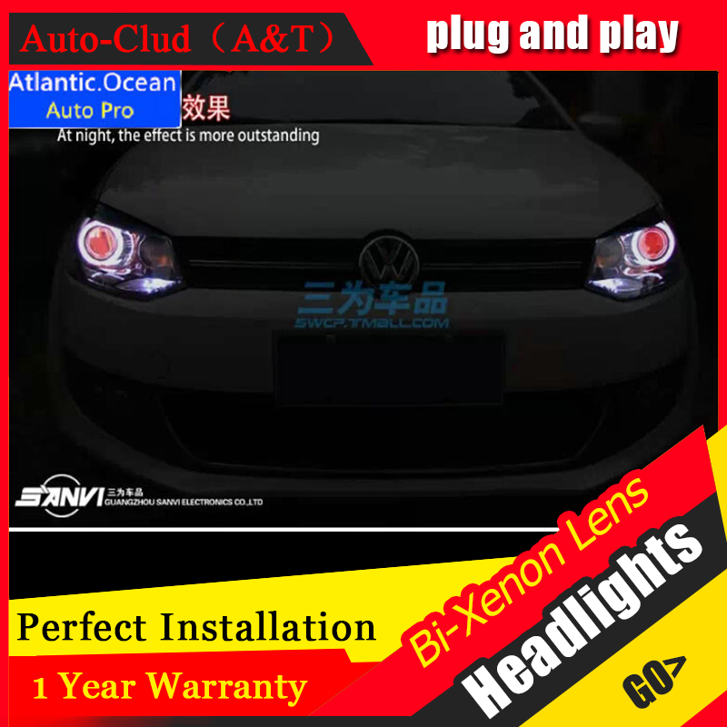 Auto Clud 2011 2014 vw polo headlights bi xenon lens car styling Angel Eyes LED DRL