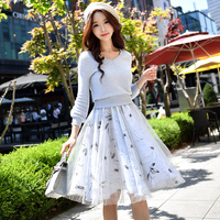 original dress female 2017 fashion v neck high waist lantern sleeve knee length knitted sweater two pieces set dresses women