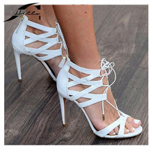 Shoes Women Sandals 2017 Summer Fashion High Heels Cross Tied Peep Toe Hollow Out Ladies Shoes Sandalias Black/White Large Size