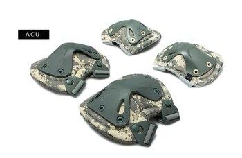 ACU Army knie en elleboog pads met cap Woodland Zwart FG elleboogbeschermers met caps
