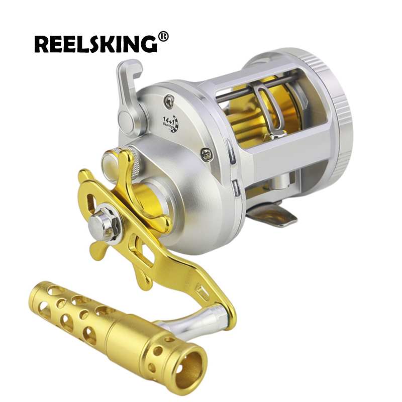 REELSKING Corrosion protection Black and Sliver Cast Drum Wheel  Right Hand MAX DRAG 25 Sea Bait Casting Fishing ReelsFishing Reels   -