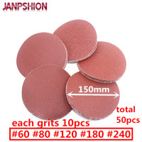 50pc Red Round Sandpaper Flocking Self Adhesive Sanding Paper For Sander Velcro 6 150mm Grits 60