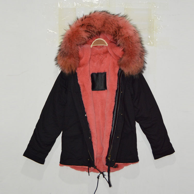 Watermelon color outside shell black faux fur lining jacket with big raccoon fur hood for women coat
