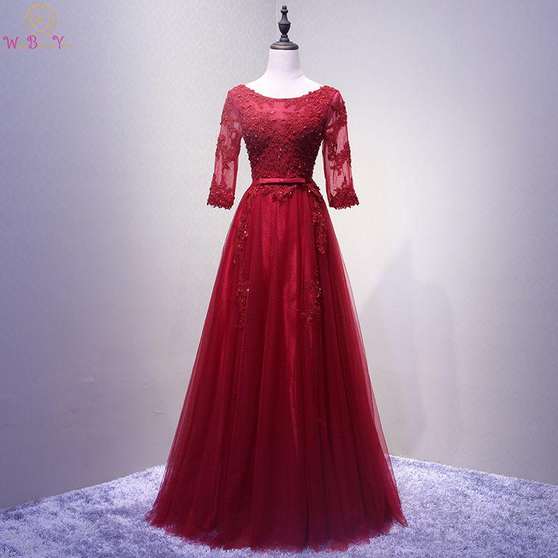 Walk Beside You Wine   Bridesmaid     Dresses   3/4 Long Sleeves Tulle Lace Appliques Beading A-line Vestido Dama De Honor Wedding Guest
