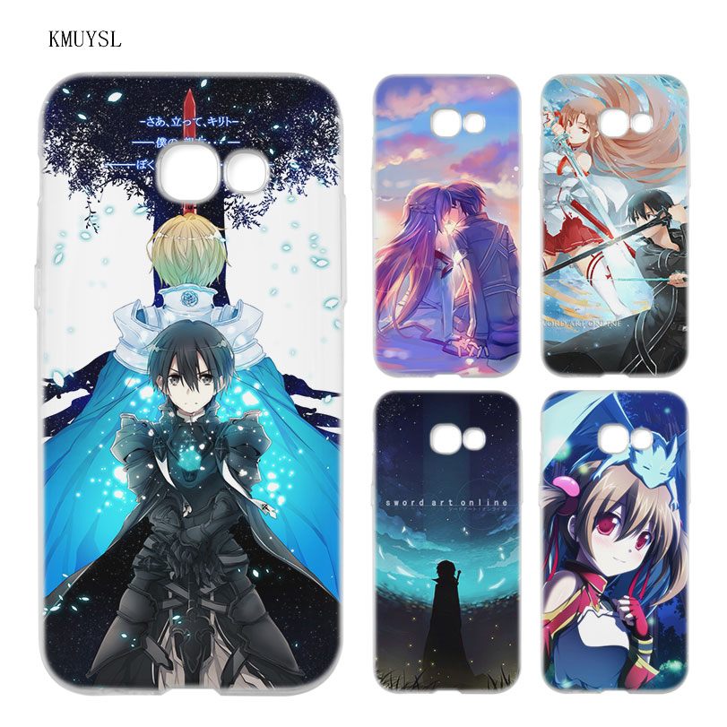 KMUYSL Anime Sword Art Online game girl Asuna Krito TPU Clear Soft Case Cover Shell for Samsung A5 A3 A7 A8 2017 2016 2018