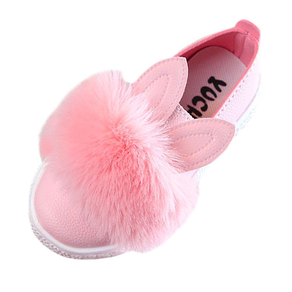 Children Toddler Baby Fur Sneaker Girls  Cute Bunny Soft Anti-slip Single Shoes