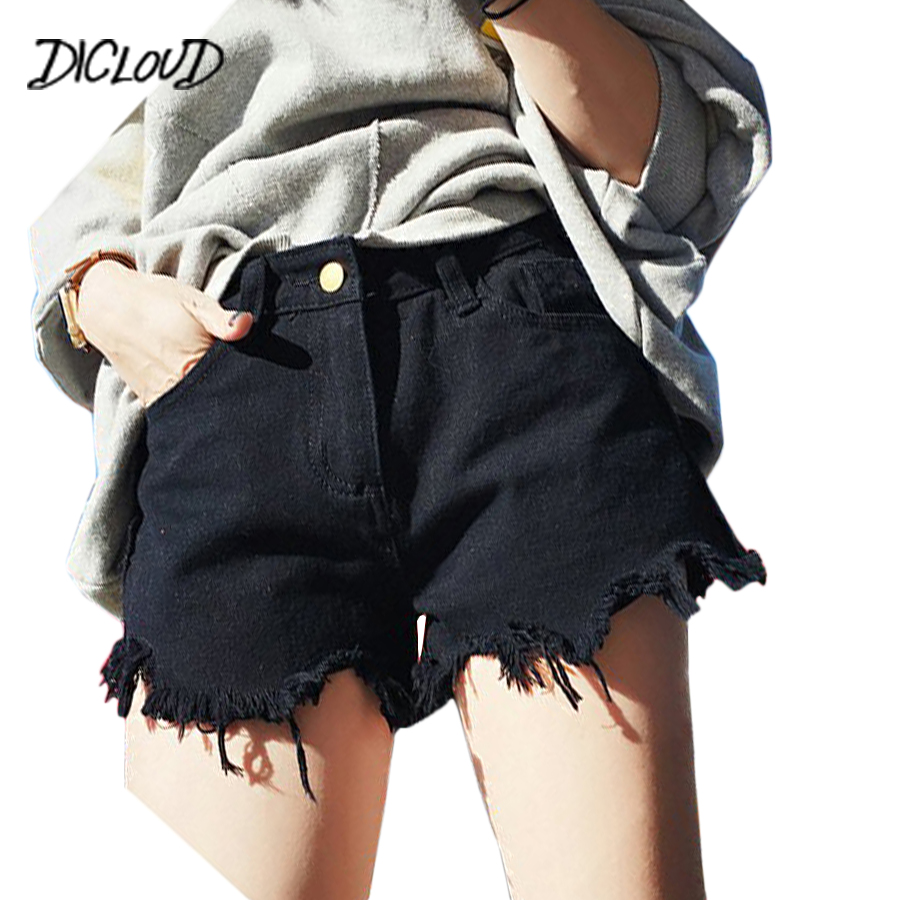 DICLOUD Korean Sexy High Waist Denim   Shorts   Woman 2018 Harajuku Tassel Black White Skinny Jeans Fashion Plus Size Booty   Shorts