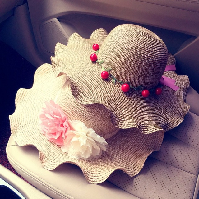 2016 New Arrival Wave Sun Shading Hats Casual Straw Hat Solid Women Summer Cap Beach Hat Flower Butterfly Elegant Ladies Hats