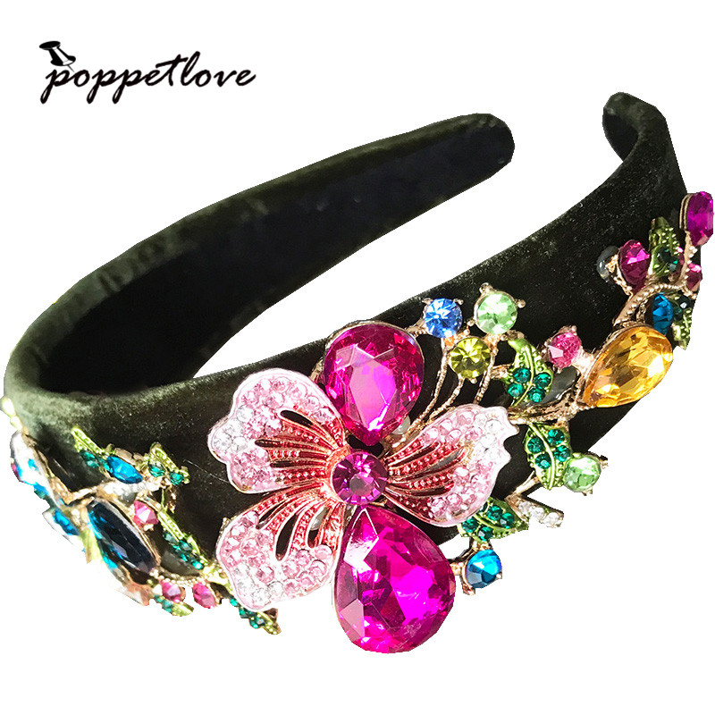 High Quality Royal Wide Side Flannel Inlaid Crystal Flowers Colorful Baroque Headband For Women Wedding Hair Accessories Gift high quality colorful flowers and girl pattern removeable wall stickers