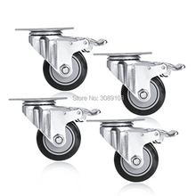 4 pcs Medium Duty Double Ball Bearing PU/PVC Caster with brake цены