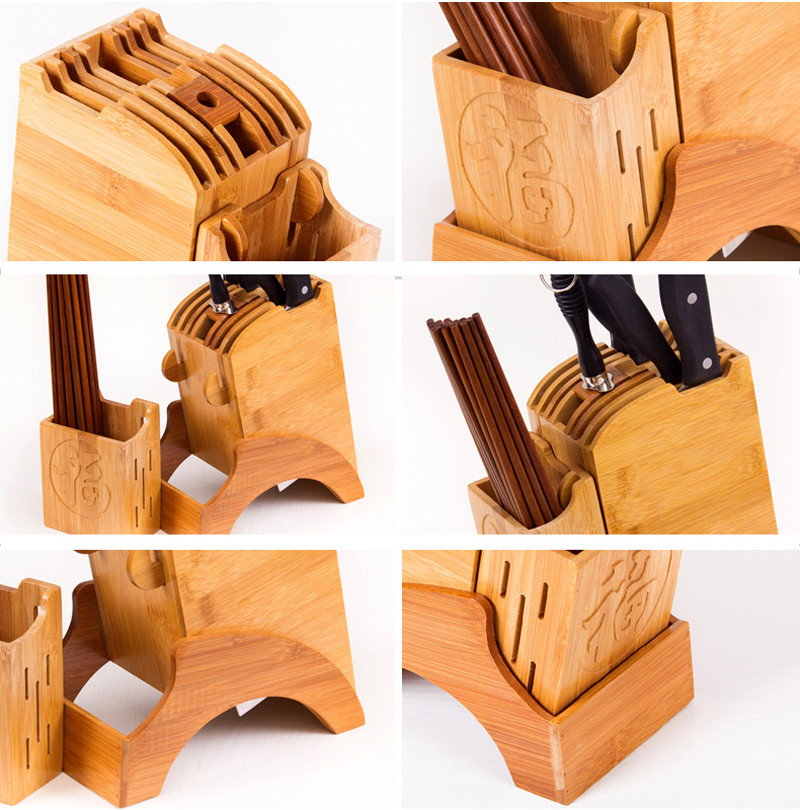 Creative Bamboo Kitchen Knife Holder Multifunctional Kitchen Accessories Storage Rack Tool Holder Knife Stand Knife Rack14