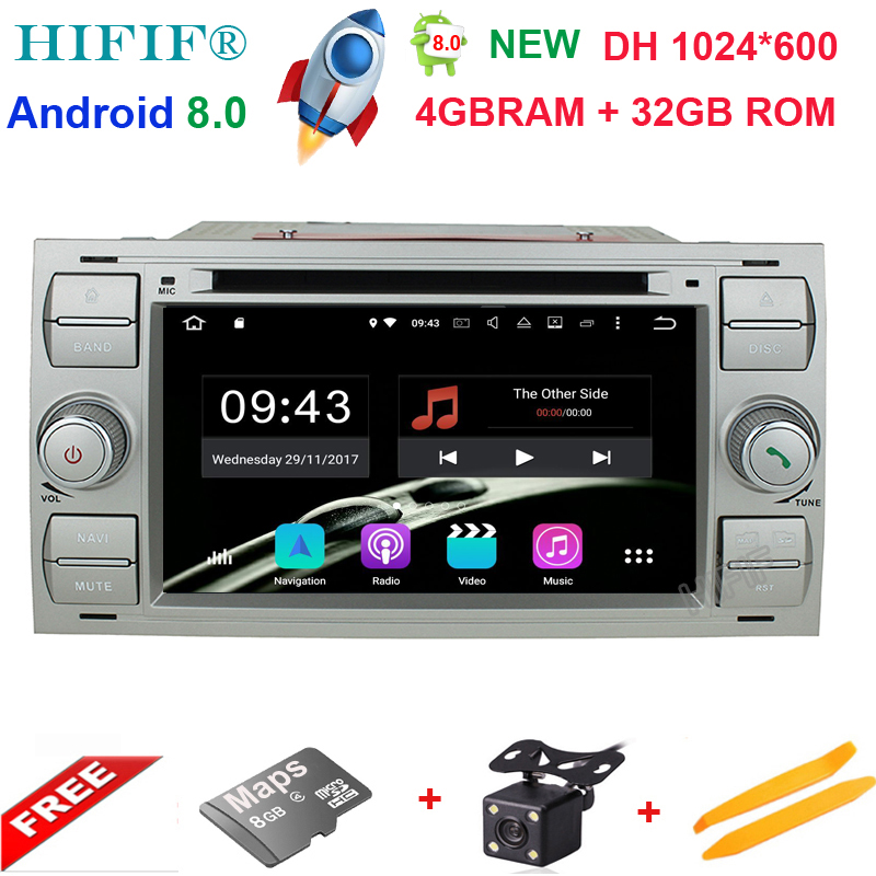 2din Android 8.0 DAB+Car DVD Player In Dash For Ford Transit Focus Connect S-MAX Kuga Mondeo With QuadCore Wifi 4G GPS Bluetooth