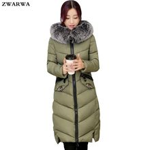 2017 Hot Sale Ukraine Winter Jacket Woman Coats Long Jackets Ladies Knee Length Padded Cotton Large Fur Collar Hooded Outwear