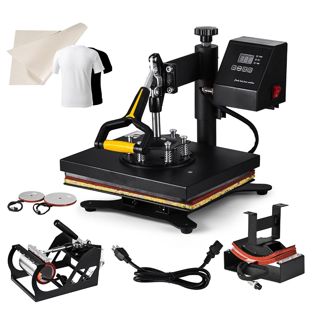 Heat Press Machine 5 in 1 30x25cm Multifunction Sublimation Desktop Iron Baseball Hat Press 12x10 Digital Swing Away Transfer plate press machine digital swing away heat press machina sublimation transfer for 10 inch plates 15cm diameter printining