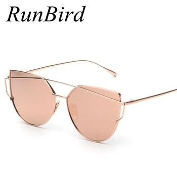 Runbird 2017 new cat eye sunglasses mulheres marca designer de moda twin-vigas subiu espelho de ouro cateye óculos de sol para feminino uv400