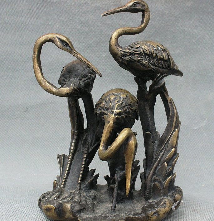 Old China Palace Pure Bronze Fengshui Wealth 3 Bird red-crowned crane Set StatueOld China Palace Pure Bronze Fengshui Wealth 3 Bird red-crowned crane Set Statue