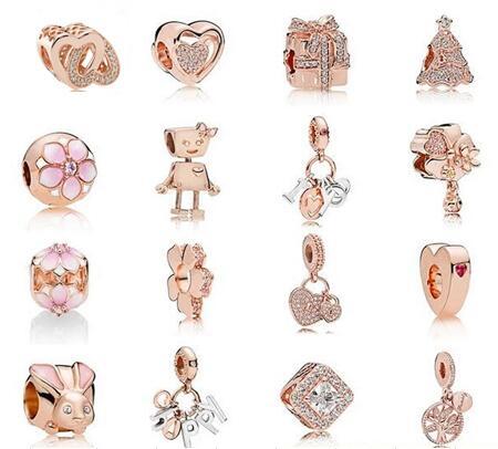 Rose Gold Pflastern Offenen Mein Herz Glänzende Eleganz Zirkon Clip Stopper-korne passten Pandora Armband 925 Sterling Silber Charms Schmuck